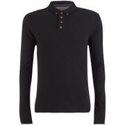 Brave Soul Men's Lincoln Long Sleeve Polo Shirt - Black