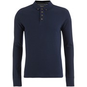 Brave Soul Men's Lincoln Long Sleeve Polo Shirt - Ocean Blue