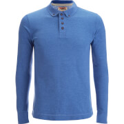 Tokyo Laundry Men's Lake Nevada Long Sleeve Polo Shirt - Cornflower Blue Marl