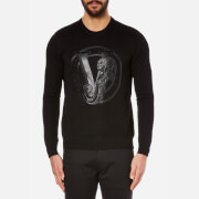 Versace Jeans Men's Large Logo Crew Neck Top - Nero