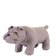 Faux Leather British Bulldog Footstool - Grey