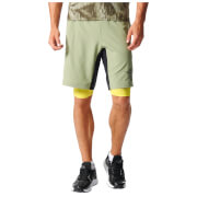 adidas Men's A2G Two-in-One Training Shorts - Green