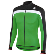 Sportful Pista Thermal Long Sleeve Jersey - Black/Green