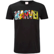 Marvel Herren Comic Strip Logo T-Shirt - Schwarz