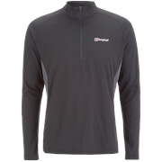 Berghaus Men's Tech Long Sleeve Zip Neck T-Shirt - Black/Carbon