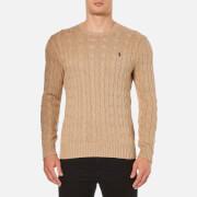 Polo Ralph Lauren Men's Crew Neck Cable Knitted Jumper - Camel Melange