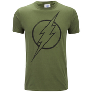 DC Comics Men's The Flash Line Logo T-Shirt - Military Green