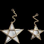 Nkuku Small Glass Hanging Star - Antique Brass