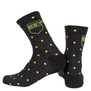 Nalini Wool Pois Socks - Black/Fluro Yellow