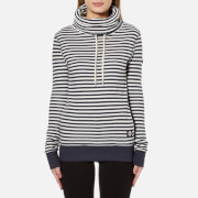 Superdry Women's Stripe Funnel Top - Fortune Navy Marl/Winter White