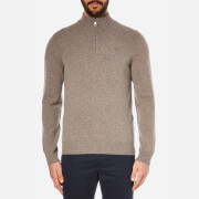 Hackett London Men's Lambswool Zip Neck Knitted Jumper - Light Brown