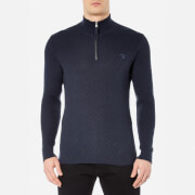 GANT Men's Cotton Texture Half Zip Knitted Jumper - Marine