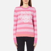 KENZO Women's Textured Cotton Knitted 3D Silicone Tiger Jumper - Begonia