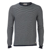 Jack & Jones Men's Originals Leo Stripe Crew Neck Jumper - Total Eclipse