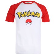 Pokemon Logo Contrast Heren T-Shirt - Wit/Rood
