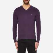 Tommy Hilfiger Men's Prime Cotton V-Neck Knitted Jumper - Sweet Grape