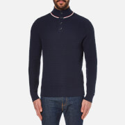 Tommy Hilfiger Men's Structure Mock Neck Knitted Jumper - Navy Blazer
