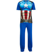 Marvel Mannen Captain America Pyjama Set - Blauw