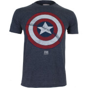 Marvel Boys' Captain America Shield Heren T-Shirt - Heather Navy