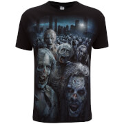 T-Shirt Homme Spiral Walking Dead Horde de Zombies -Noir