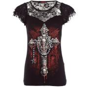 Spiral Women's Death Bones Lace Layered Top - Black