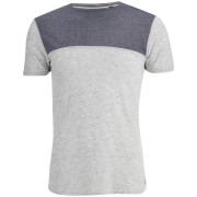 Brave Soul Men's Winfrey Panel T-Shirt - Ecru Marl