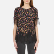 McQ Alexander McQueen Women's Fluid T-Shirt with Lace - Vintage Floral
