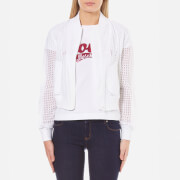 Love Moschino Women's Lace Effect Bomber Jacket - Optical White