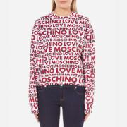 Love Moschino Women's Multi Logo Sweatshirt - Macrologo/White