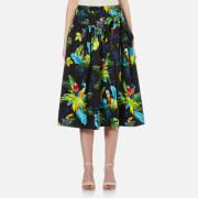 Marc Jacobs Women's Parrot Belted Full Skirt - Black/Multi