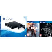 PlayStation 4 Slim 500GB Console with Battlefield 1 & The Elder Scrolls V: Skyrim Special Edition