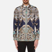 Versace Collection Men's Printed Silk Shirt - Navy