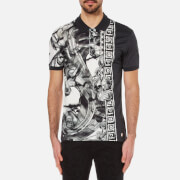 Versace Collection Men's Greek Patterned Polo Shirt with Contrast Collar - Black