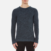Selected Homme Men's New Vince Bubble Crew Neck Sweatshirt - Dark Sapphire
