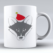 Fox with Santa Hat Ceramic Mug