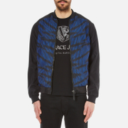 Versace Jeans Men's Leopard Printed Bomber Jacket with Back Print - Black