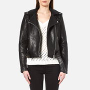 Gestuz Women's Heep Embroidered & Stud Leather Jacket - Black