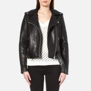 Gestuz Women's Heep Embroidered & Stud Leather Jacket - Black