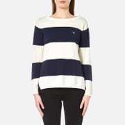 GANT Women's Block Stripe Pique Boat Neck Jumper - Persian Blue