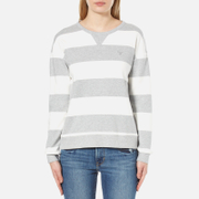 GANT Women's O2 Barstripe C-Neck Sweatshirt - Light Grey Melange