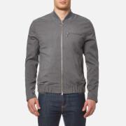 Lacoste L!ve Men's Flannel Bomber Jacket - Light Grey Jaspe