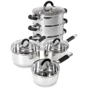 Tower 3 Piece Pan Set with Silicone Handles and 3 Tier Steamer (18cm) - Stainless Steel