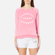 Superdry Women's Burnout Pastel Crew Neck Jumper - Bright Acid Coral