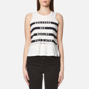 Superdry Women's Stripe Slogan Tank Top - White/Blue