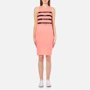 Superdry Women's Mariner Stripe Midi Dress - Coral Neon