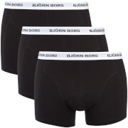 Bjorn Borg Men's Three Pack Solid Boxer Shorts with Contrast Colour Waistband - Black