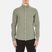 Hackett London Men's Garment Dyed Linen Shirt - Khaki/Stone