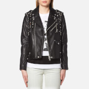 Coach Women's Icon Moto Jacket with Beatnik Rivets - Black