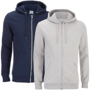 Smith & Jones Men's Gridiron 2 Pack Zip Through Hoody - Navy/Grey