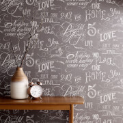 Fresco Chalk Board Effect Grey Wallpaper